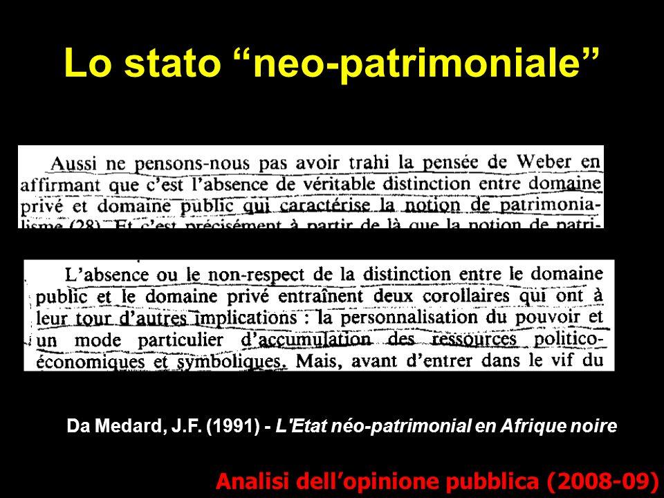 Da Medard, J.F. (1991) - L'Etat néo-patrimonial en Afrique noire Lo stato neo-patrimoniale Analisi dellopinione pubblica (2008-09)