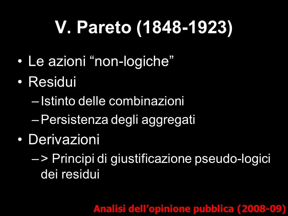 V. Pareto (1848-1923) Analisi dellopinione pubblica (2008-09) Le azioni non-logiche Residui –Istinto delle combinazioni –Persistenza degli aggregati D