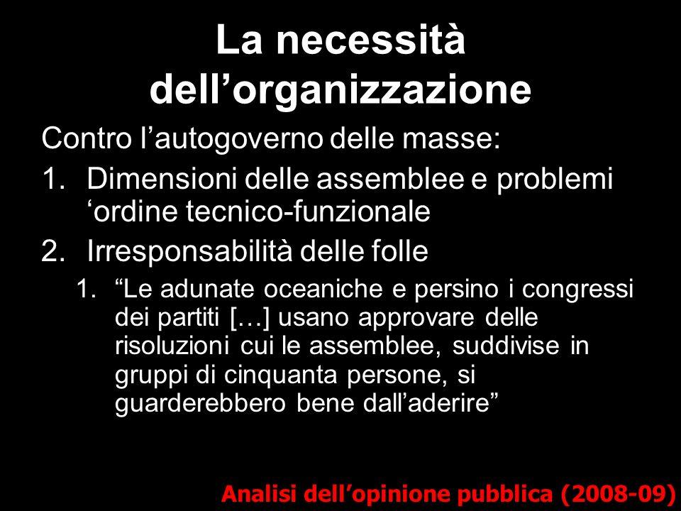La necessità dellorganizzazione Analisi dellopinione pubblica (2008-09) Contro lautogoverno delle masse: 1.Dimensioni delle assemblee e problemi ordin