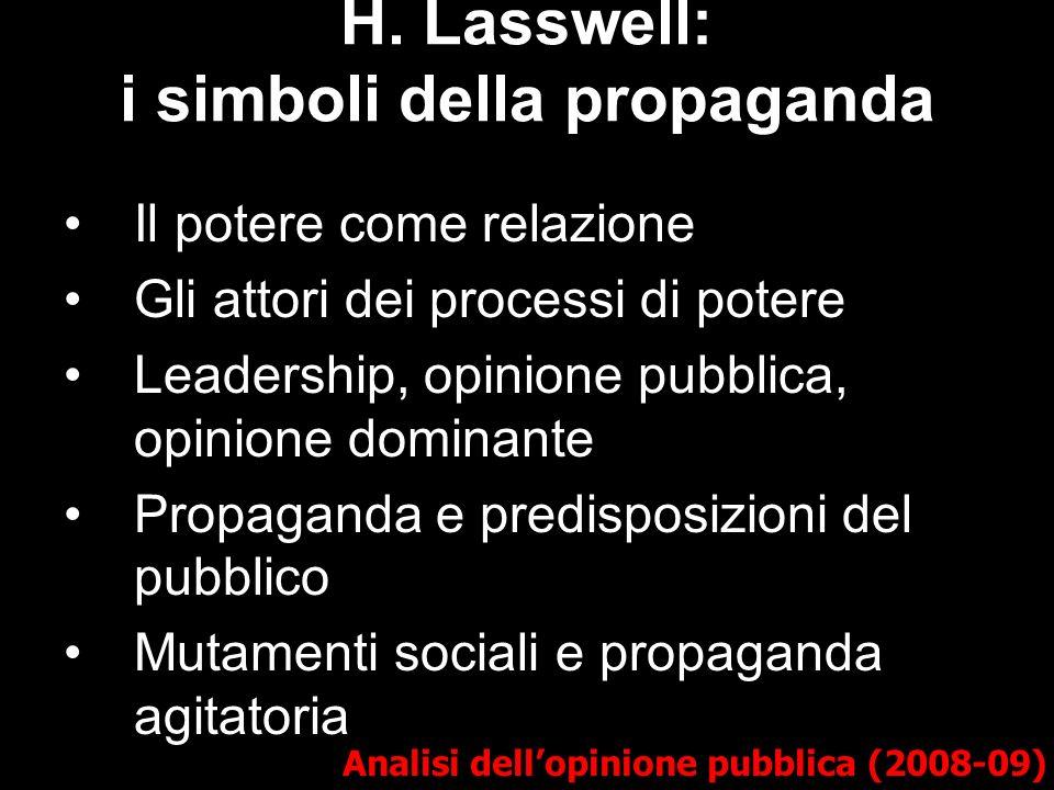 H. Lasswell: i simboli della propaganda Analisi dellopinione pubblica (2008-09) Il potere come relazione Gli attori dei processi di potere Leadership,