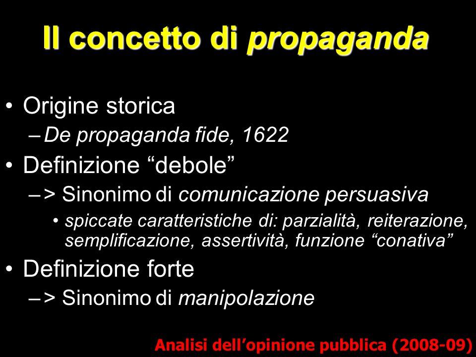 Il concetto di propaganda Origine storica –De propaganda fide, 1622 Definizione debole –> Sinonimo di comunicazione persuasiva spiccate caratteristich