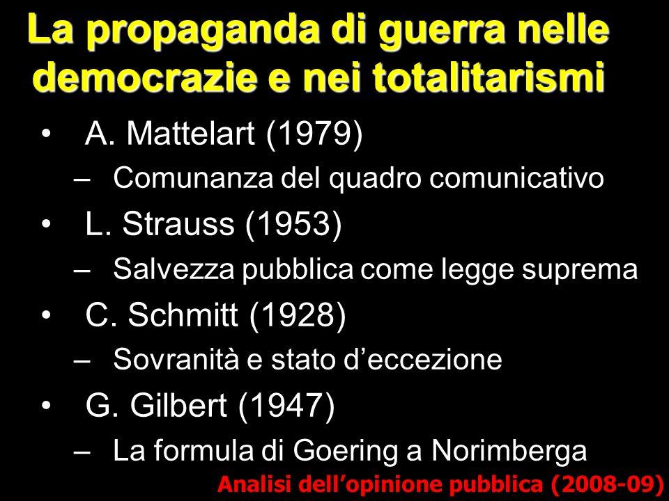 La propaganda di guerra nelle democrazie e nei totalitarismi A. Mattelart (1979) –Comunanza del quadro comunicativo L. Strauss (1953) –Salvezza pubbli