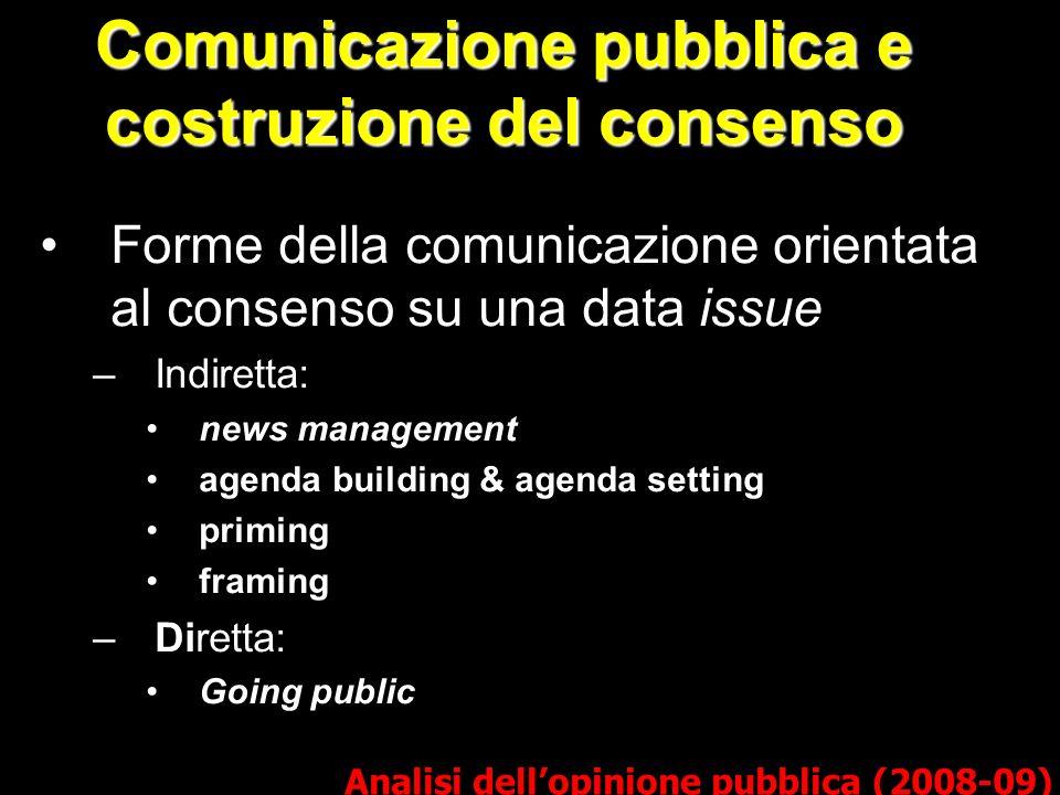 Comunicazione pubblica e costruzione del consenso Forme della comunicazione orientata al consenso su una data issue –Indiretta: news management agenda