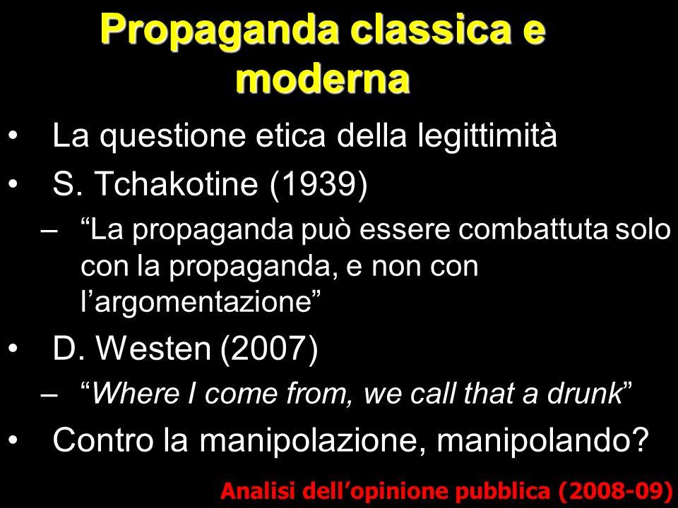 Propaganda classica e moderna La questione etica della legittimità S. Tchakotine (1939) –La propaganda può essere combattuta solo con la propaganda, e