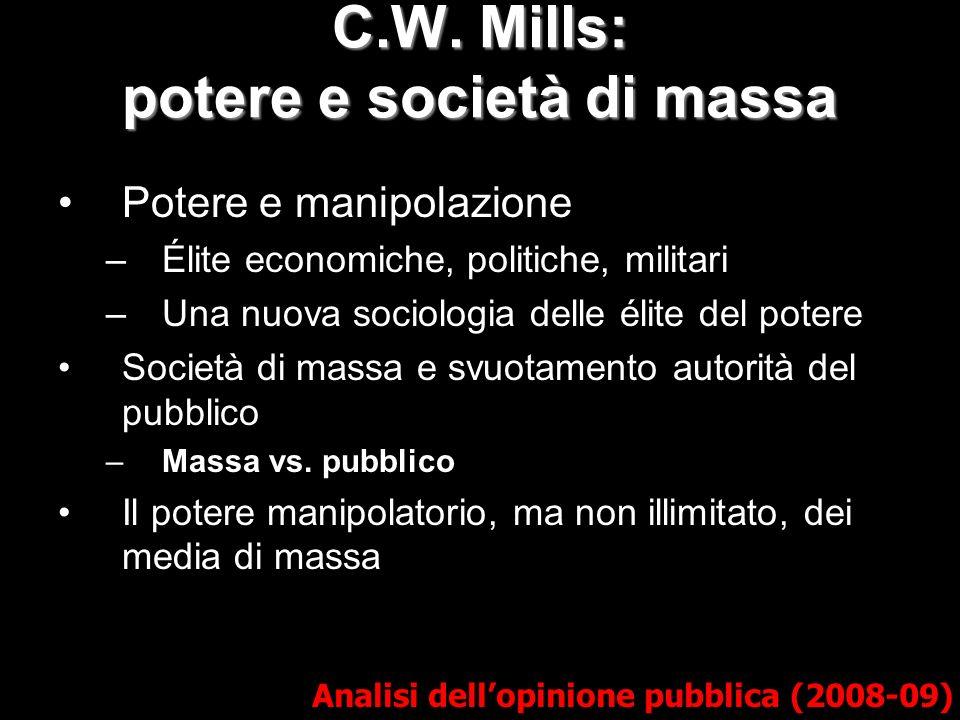 C.W. Mills: potere e società di massa Analisi dellopinione pubblica (2008-09) Potere e manipolazione –Élite economiche, politiche, militari –Una nuova