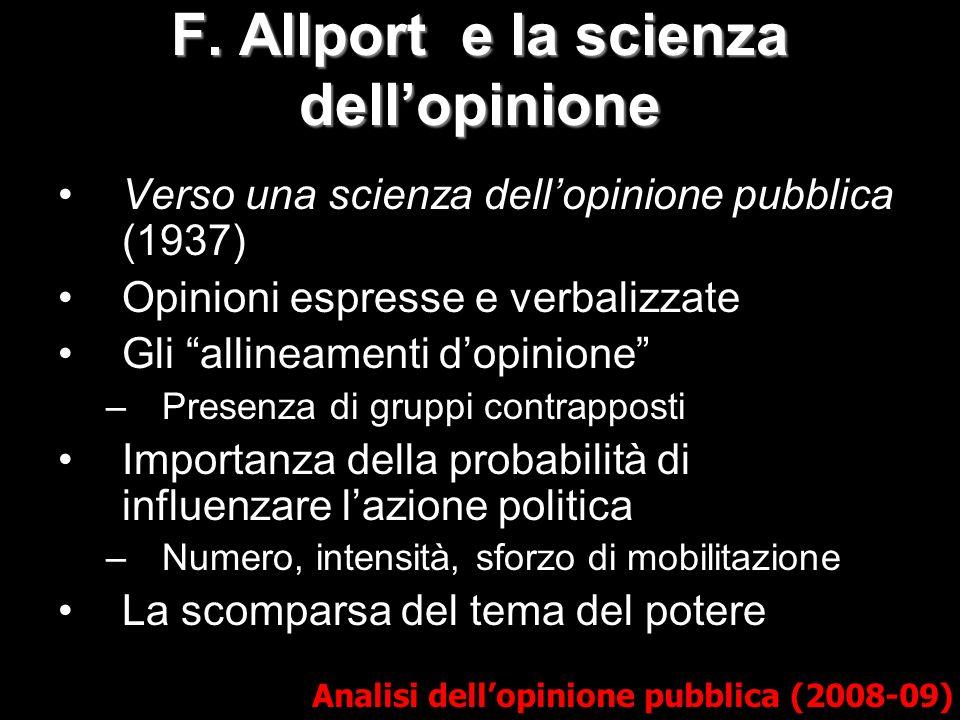 F. Allport e la scienza dellopinione Analisi dellopinione pubblica (2008-09) Verso una scienza dellopinione pubblica (1937) Opinioni espresse e verbal