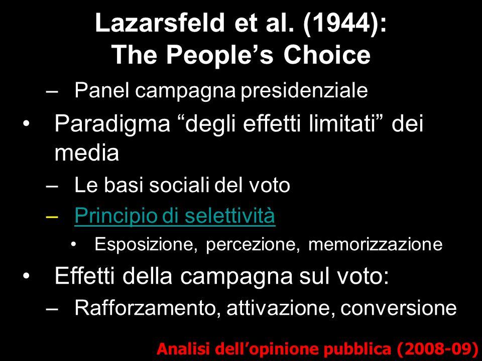 Lazarsfeld et al. (1944): The Peoples Choice Analisi dellopinione pubblica (2008-09) –Panel campagna presidenziale Paradigma degli effetti limitati de
