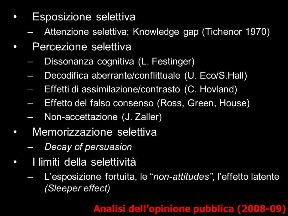 Analisi dellopinione pubblica (2008-09) Esposizione selettiva –Attenzione selettiva; Knowledge gap (Tichenor 1970) Percezione selettiva –Dissonanza cognitiva (L.