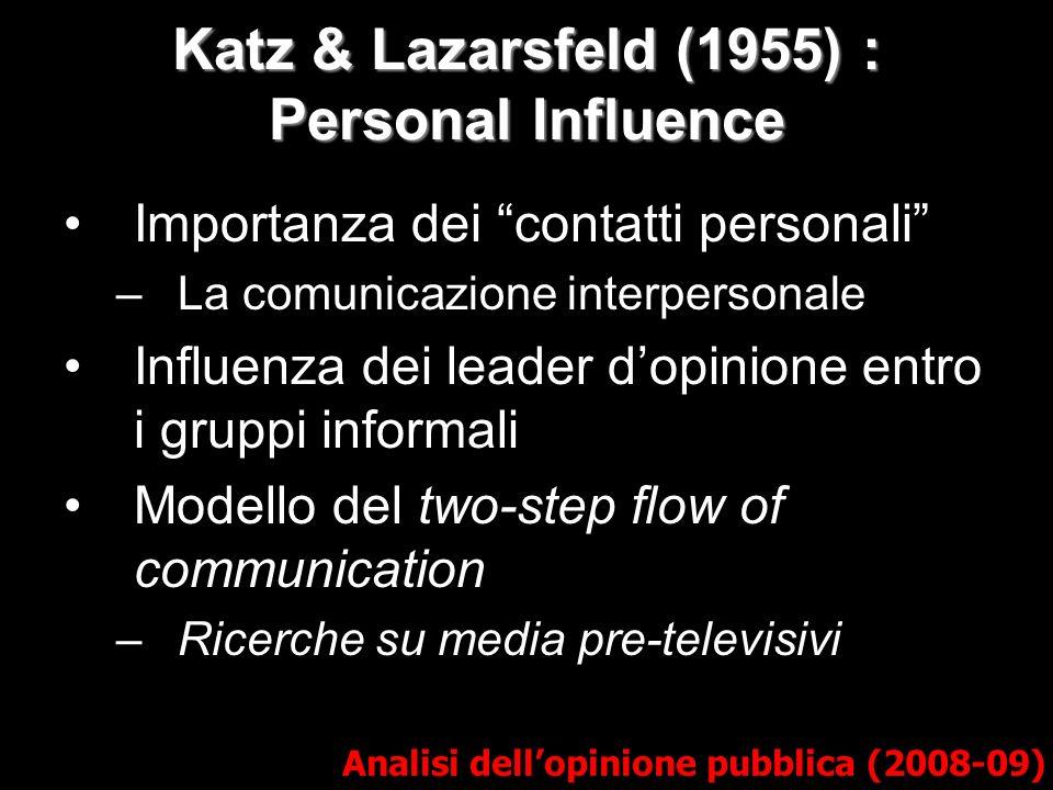 Katz & Lazarsfeld (1955) : Personal Influence Analisi dellopinione pubblica (2008-09) Importanza dei contatti personali –La comunicazione interpersonale Influenza dei leader dopinione entro i gruppi informali Modello del two-step flow of communication –Ricerche su media pre-televisivi