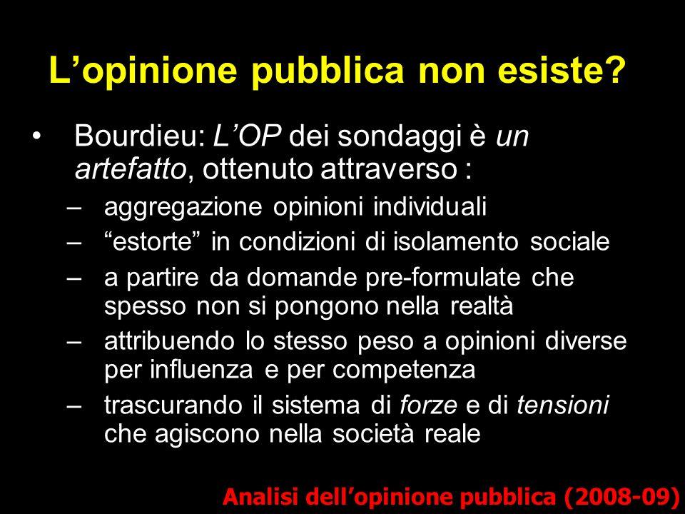 Lopinione pubblica non esiste? Bourdieu: LOP dei sondaggi è un artefatto, ottenuto attraverso : –aggregazione opinioni individuali –estorte in condizi