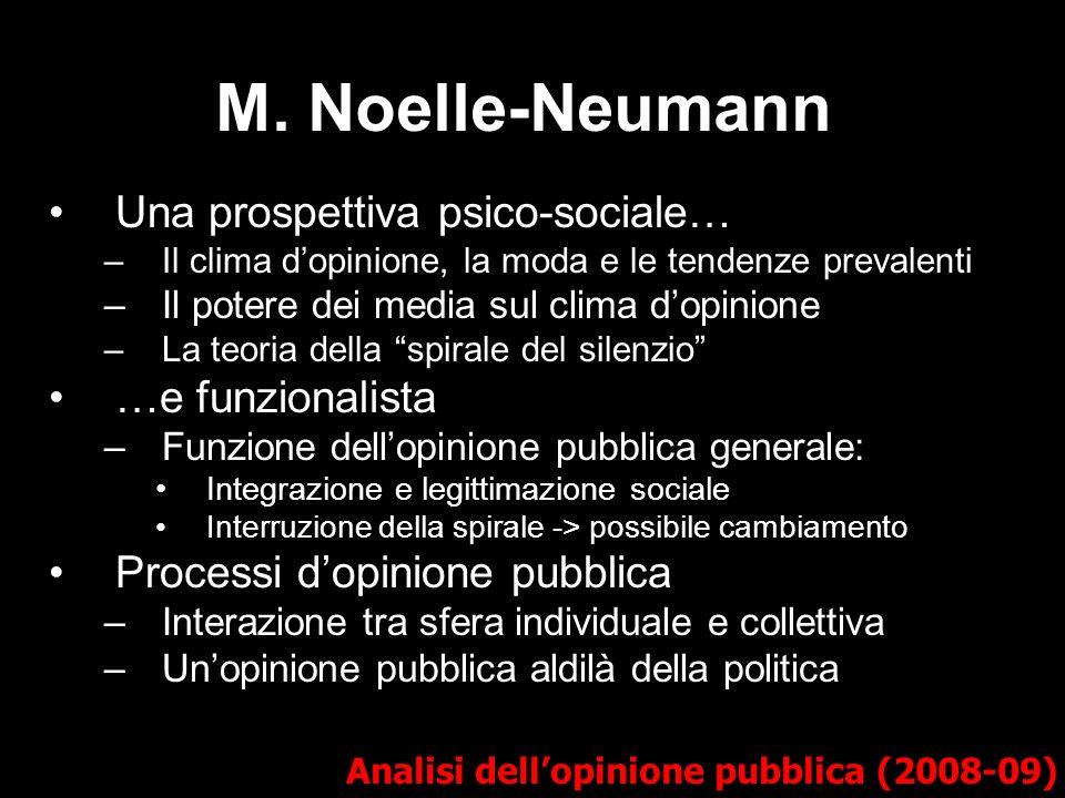 M. Noelle-Neumann Una prospettiva psico-sociale… –Il clima dopinione, la moda e le tendenze prevalenti –Il potere dei media sul clima dopinione –La te