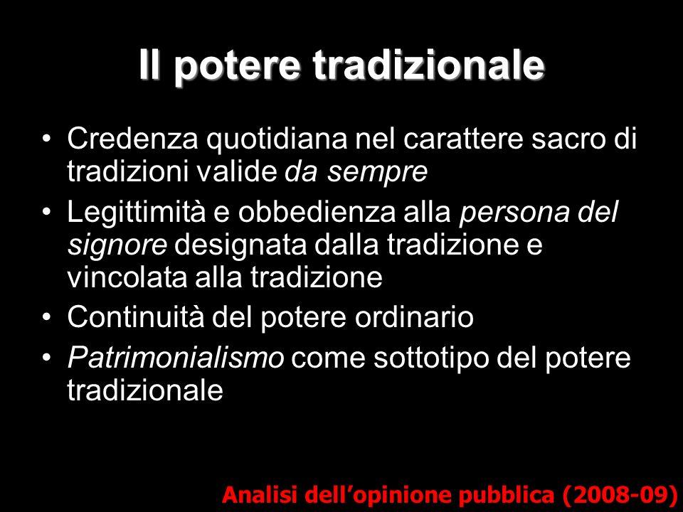 Il potere tradizionale Analisi dellopinione pubblica (2008-09) Credenza quotidiana nel carattere sacro di tradizioni valide da sempre Legittimità e ob