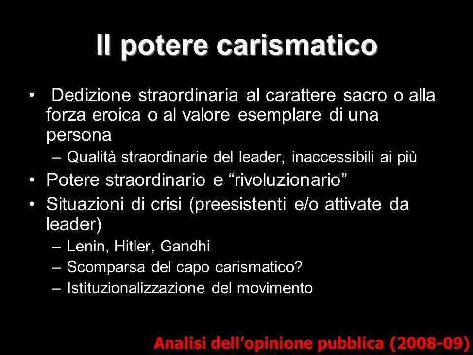 La legittimazione carismatica in democrazia Analisi dellopinione pubblica (2008-09) Manifestazioni concrete del potere –Tipi misti Carisma in un quadro razionale-legale.