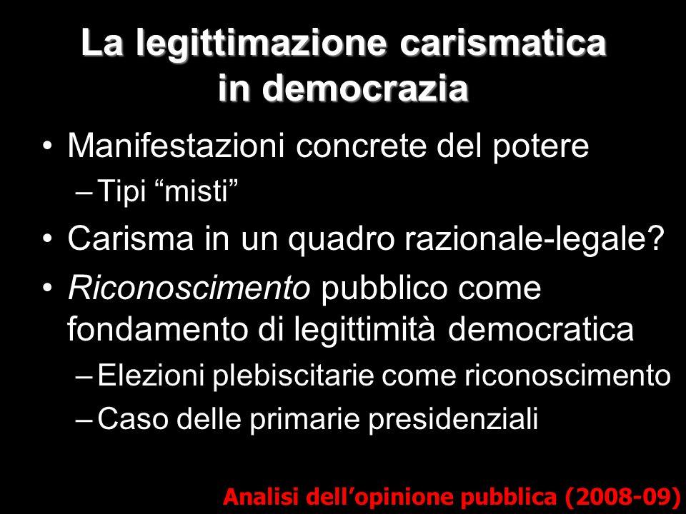 La legittimazione carismatica in democrazia Analisi dellopinione pubblica (2008-09) Manifestazioni concrete del potere –Tipi misti Carisma in un quadr