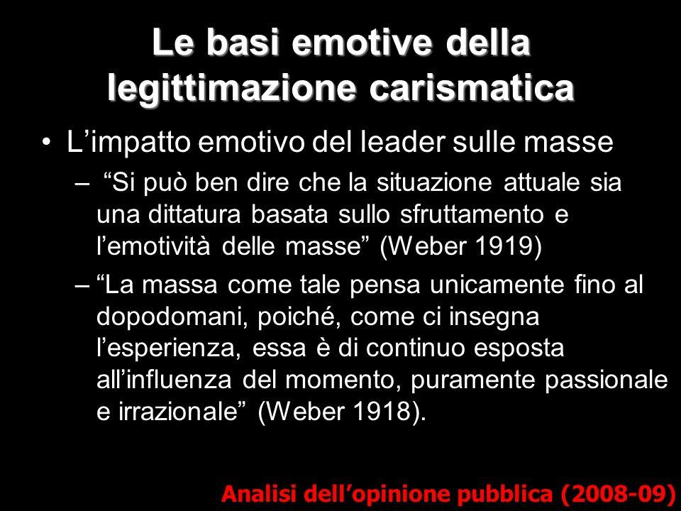Le basi emotive della legittimazione carismatica Analisi dellopinione pubblica (2008-09) Limpatto emotivo del leader sulle masse – Si può ben dire che