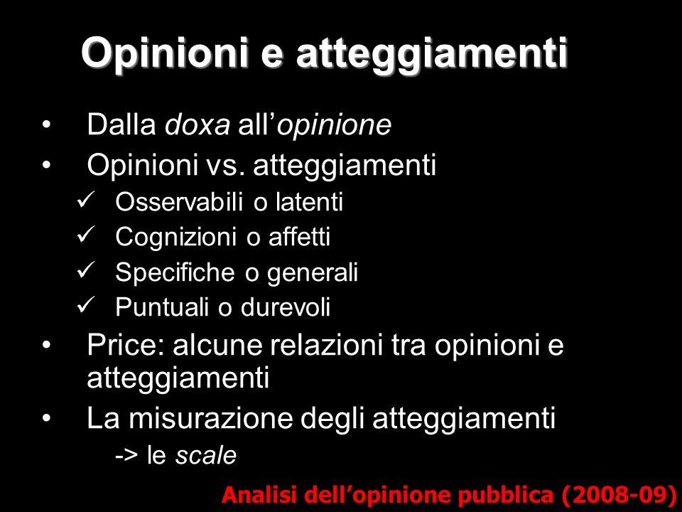 Opinioni e atteggiamenti Analisi dellopinione pubblica (2008-09) Dalla doxa allopinione Opinioni vs.
