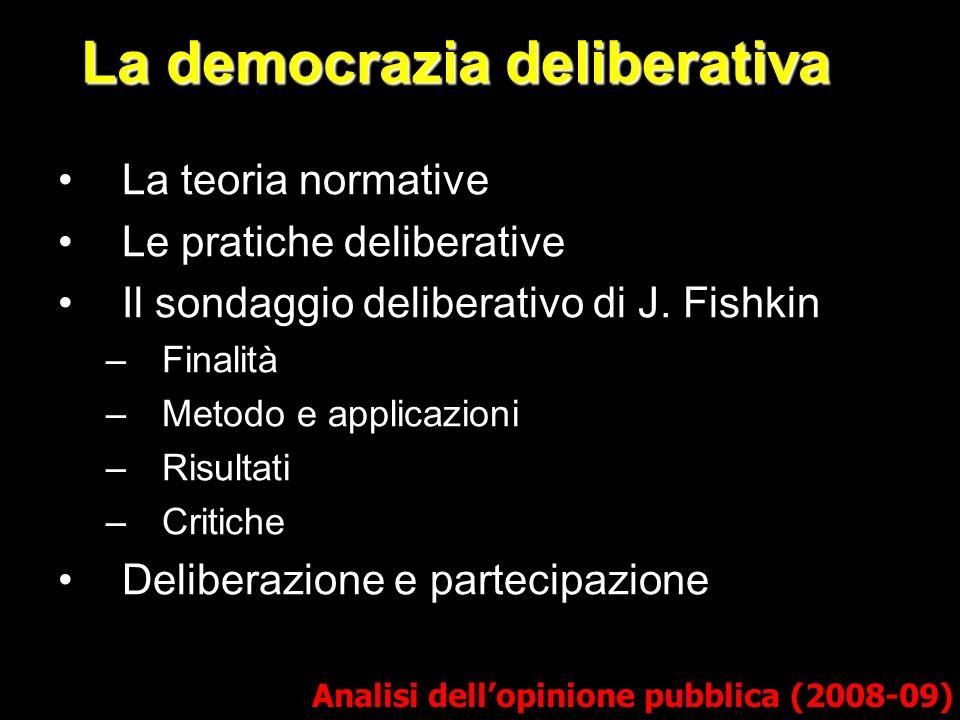 La democrazia deliberativa Analisi dellopinione pubblica (2008-09) La teoria normative Le pratiche deliberative Il sondaggio deliberativo di J.