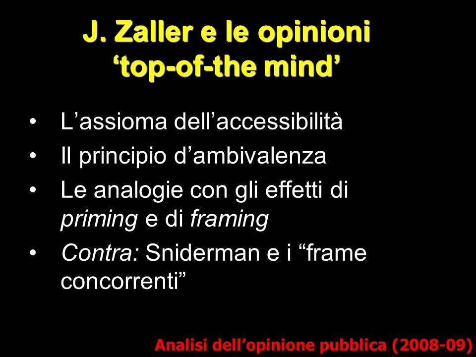 J. Zaller e le opinioni top-of-the mind Analisi dellopinione pubblica (2008-09) Lassioma dellaccessibilità Il principio dambivalenza Le analogie con g