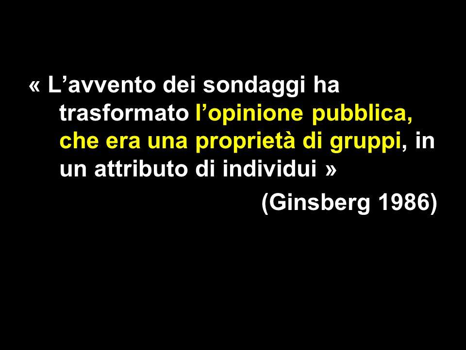 « Lavvento dei sondaggi ha trasformato lopinione pubblica, che era una proprietà di gruppi, in un attributo di individui » (Ginsberg 1986)