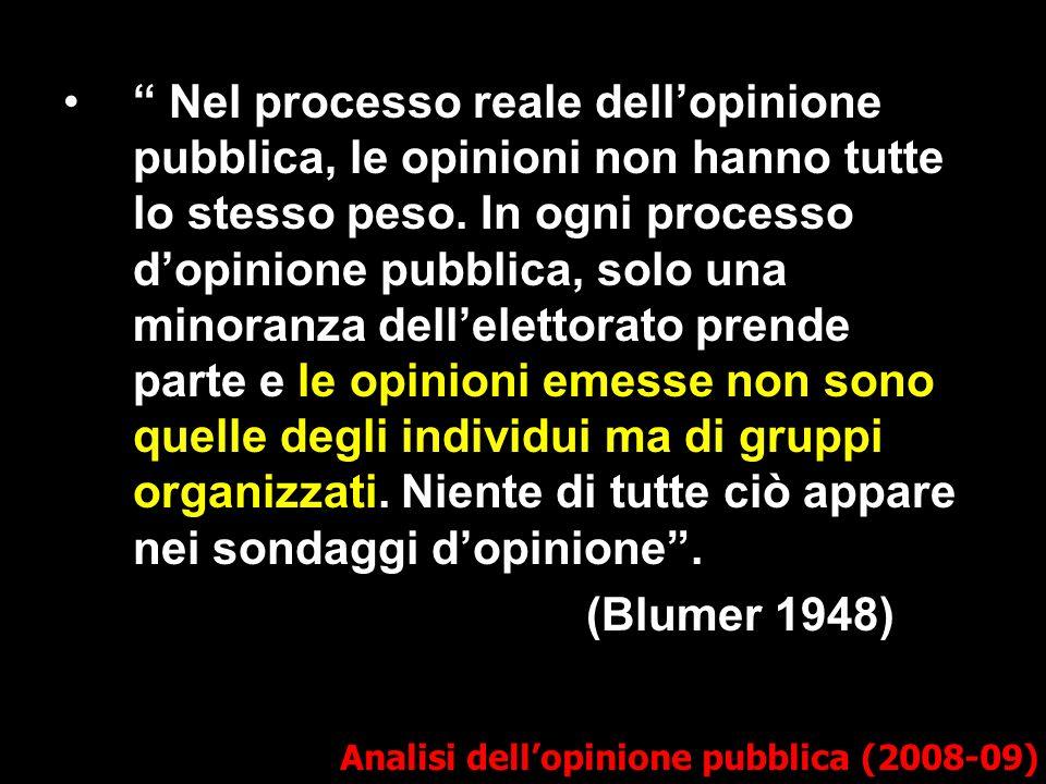 Analisi dellopinione pubblica (2008-09) Nel processo reale dellopinione pubblica, le opinioni non hanno tutte lo stesso peso.