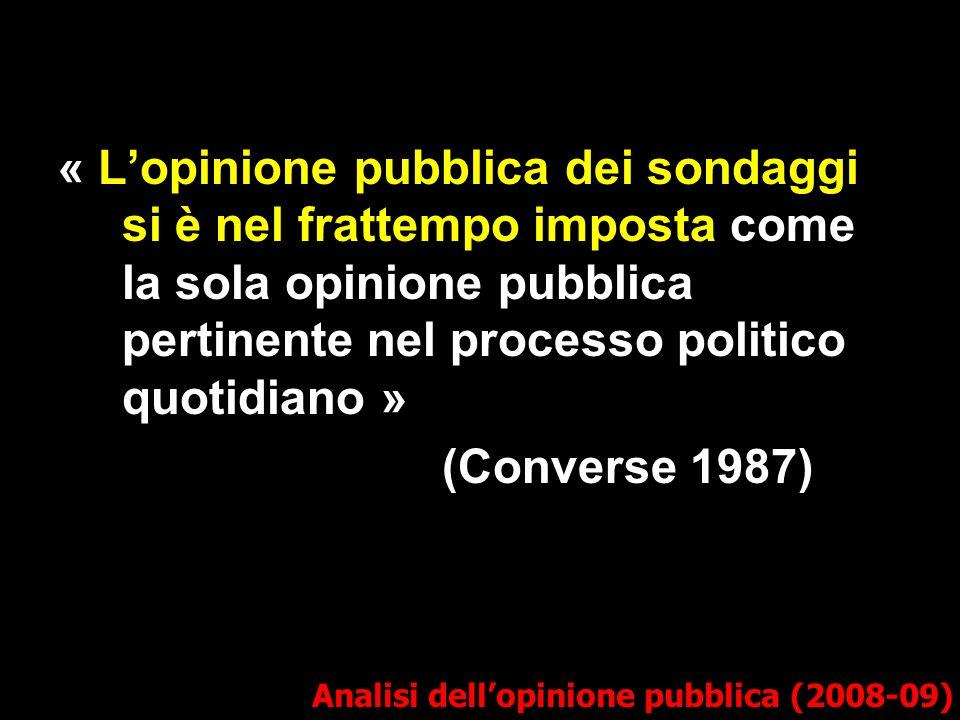 Analisi dellopinione pubblica (2008-09) « Lopinione pubblica dei sondaggi si è nel frattempo imposta come la sola opinione pubblica pertinente nel processo politico quotidiano » (Converse 1987)