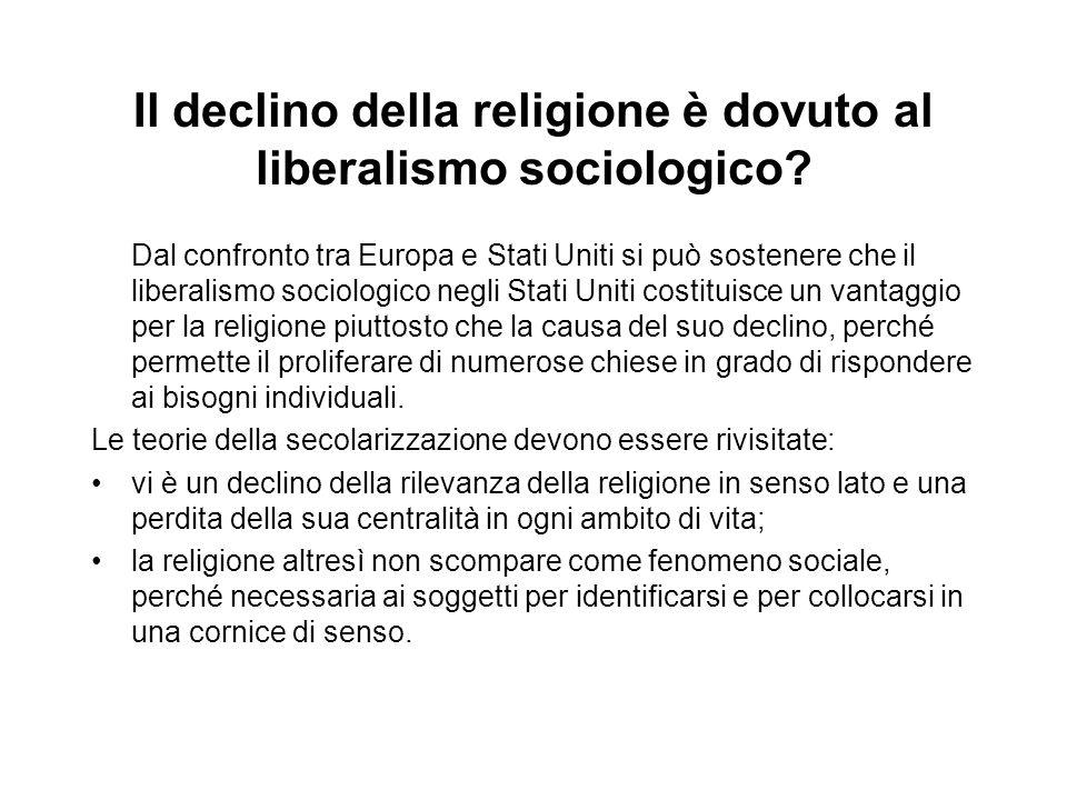 Il declino della religione è dovuto al liberalismo sociologico? Dal confronto tra Europa e Stati Uniti si può sostenere che il liberalismo sociologico