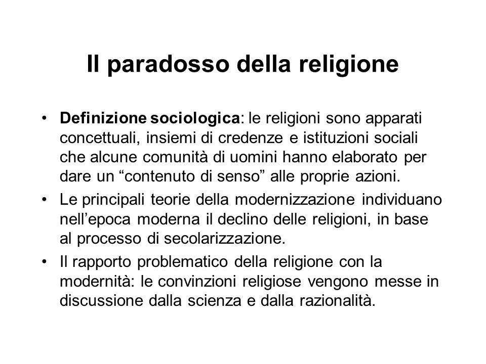 Definizione sociologica: le religioni sono apparati concettuali, insiemi di credenze e istituzioni sociali che alcune comunità di uomini hanno elabora