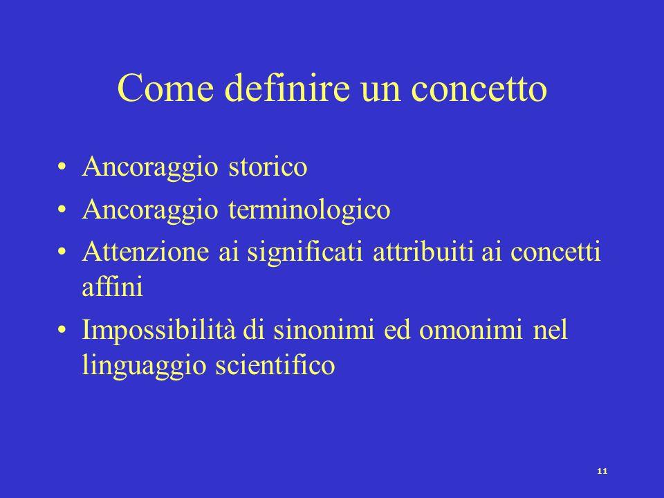 10 Significato Termine Oggetto Il triangolo del concetto Problema dellambiguità dei concetti: poche parole per molti significati.