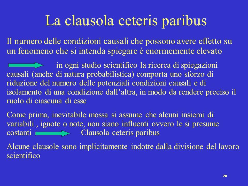 27 Le relazioni fra variabili Una ipotesi è una affermazione circa la relazione fra due o più variabili (Marradi, 1984) Es.