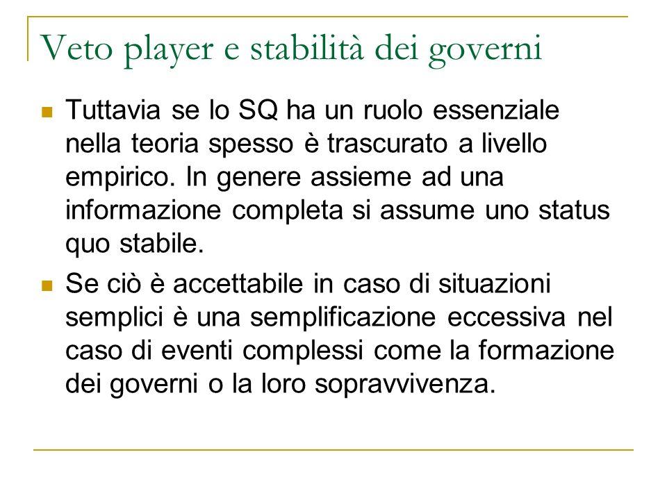 Veto player e stabilità dei governi Tuttavia se lo SQ ha un ruolo essenziale nella teoria spesso è trascurato a livello empirico. In genere assieme ad