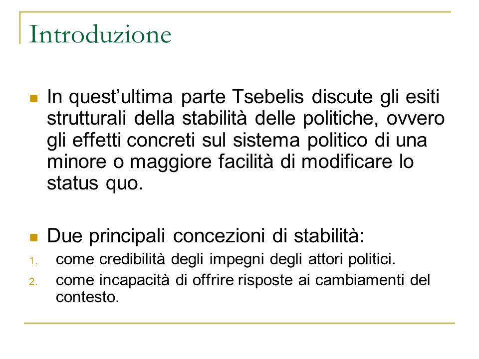 In questultima parte Tsebelis discute gli esiti strutturali della stabilità delle politiche, ovvero gli effetti concreti sul sistema politico di una m