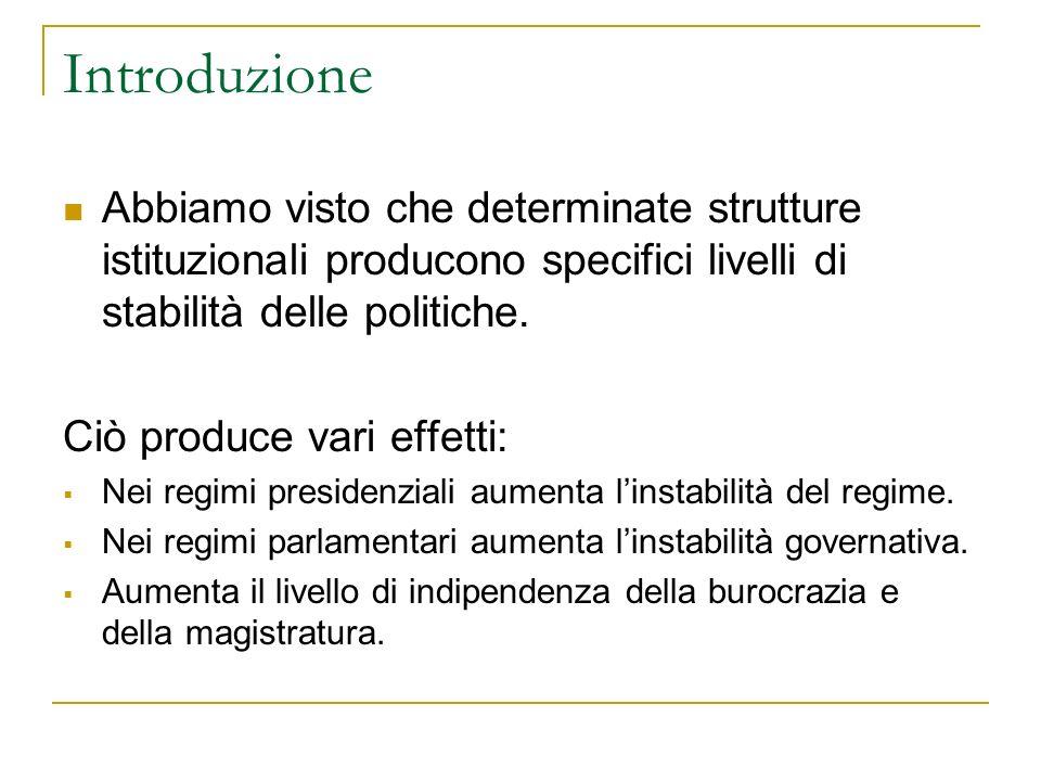 La stabilità dei Governi La stabilità dei governi è una variabile importante per lo studio dei sistemi politici.