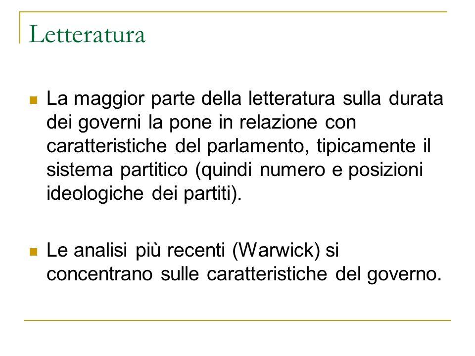 Letteratura La maggior parte della letteratura sulla durata dei governi la pone in relazione con caratteristiche del parlamento, tipicamente il sistem