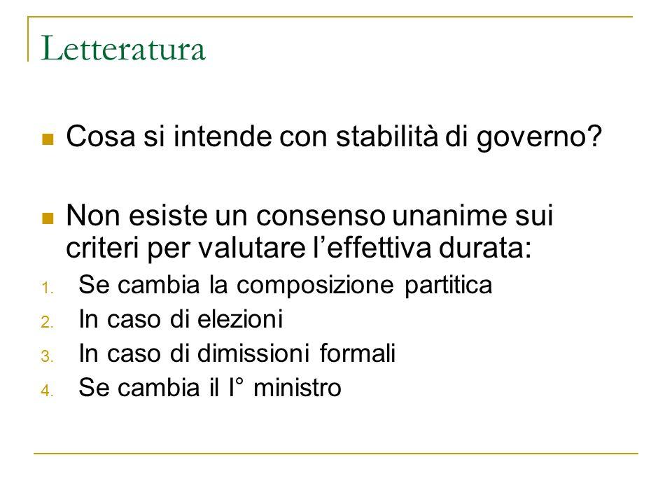 Letteratura Cosa si intende con stabilità di governo? Non esiste un consenso unanime sui criteri per valutare leffettiva durata: 1. Se cambia la compo