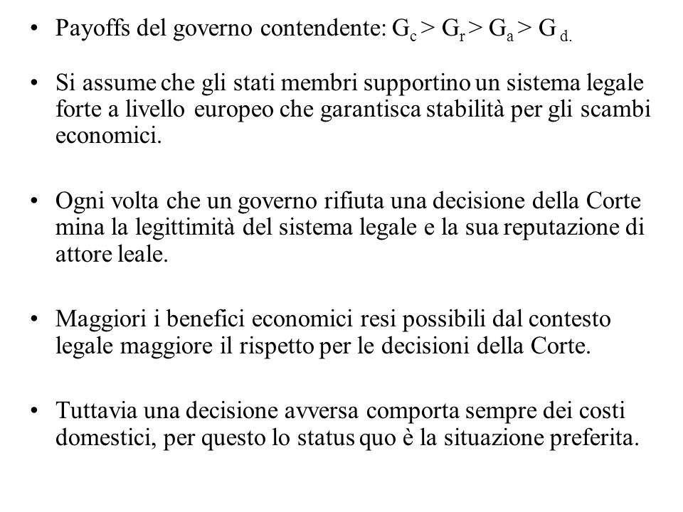 Payoffs del governo contendente: G c > G r > G a > G d.