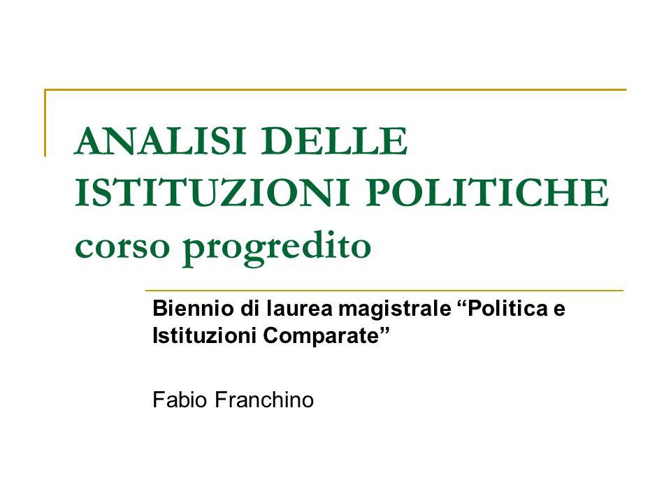 ANALISI DELLE ISTITUZIONI POLITICHE corso progredito Biennio di laurea magistrale Politica e Istituzioni Comparate Fabio Franchino