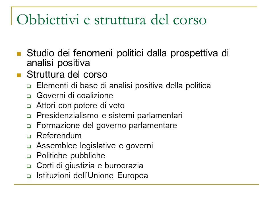 Obbiettivi e struttura del corso Studio dei fenomeni politici dalla prospettiva di analisi positiva Struttura del corso Elementi di base di analisi po