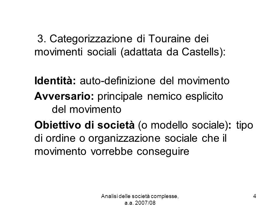 Analisi delle società complesse, a.a.2007/08 15 Nemico comune: il liberismo.
