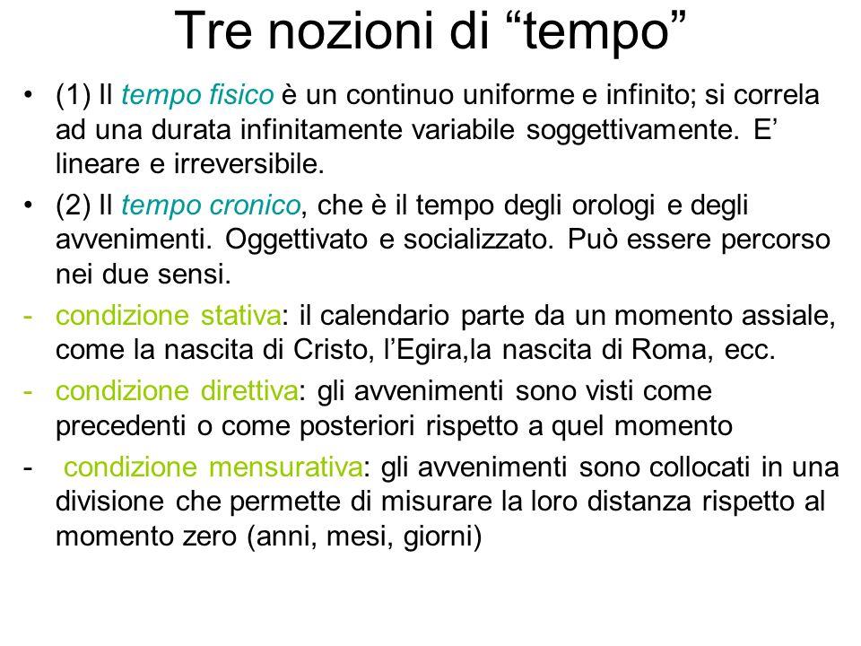Tre nozioni di tempo (1) Il tempo fisico è un continuo uniforme e infinito; si correla ad una durata infinitamente variabile soggettivamente.
