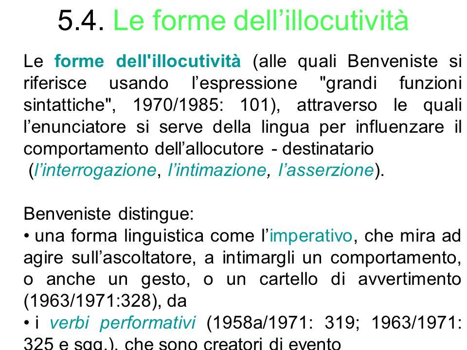 5.4. Le forme dellillocutività Le forme dell'illocutività (alle quali Benveniste si riferisce usando lespressione