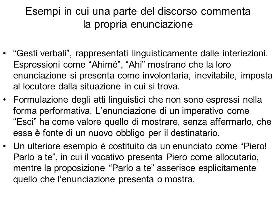 Esempi in cui una parte del discorso commenta la propria enunciazione Gesti verbali, rappresentati linguisticamente dalle interiezioni.