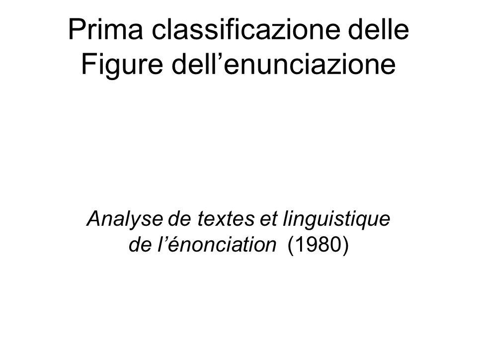 Prima classificazione delle Figure dellenunciazione Analyse de textes et linguistique de lénonciation (1980)