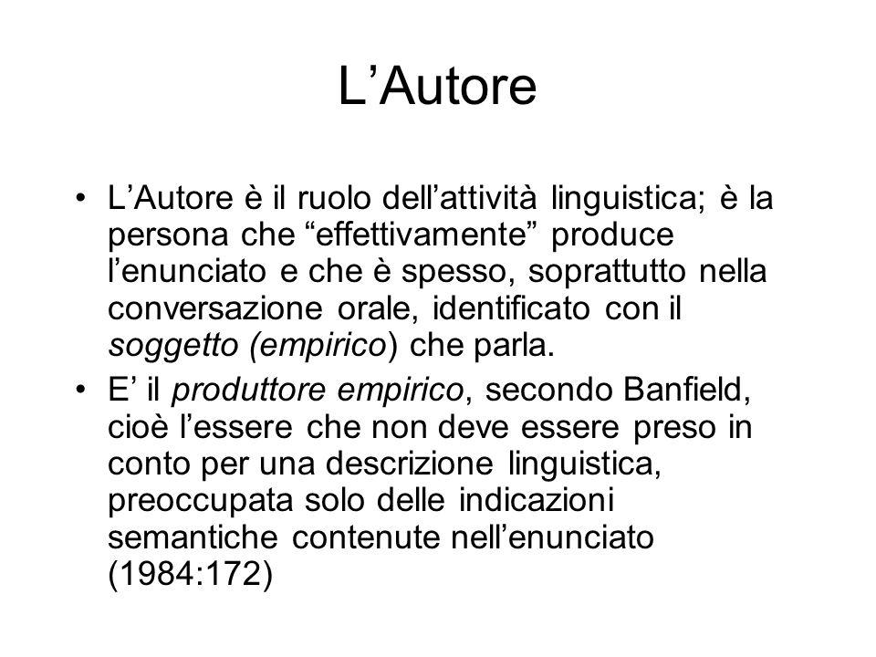 LAutore LAutore è il ruolo dellattività linguistica; è la persona che effettivamente produce lenunciato e che è spesso, soprattutto nella conversazione orale, identificato con il soggetto (empirico) che parla.