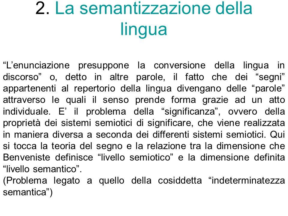 2. La semantizzazione della lingua Lenunciazione presuppone la conversione della lingua in discorso o, detto in altre parole, il fatto che dei segni a