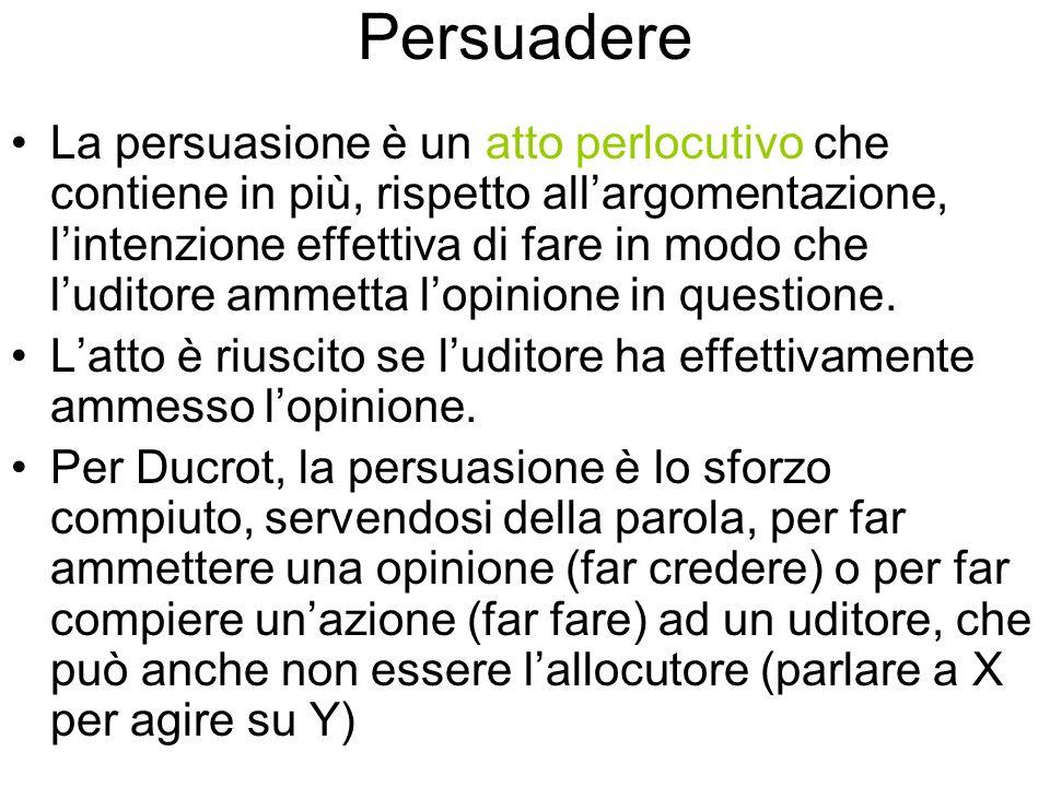 Persuadere La persuasione è un atto perlocutivo che contiene in più, rispetto allargomentazione, lintenzione effettiva di fare in modo che luditore ammetta lopinione in questione.