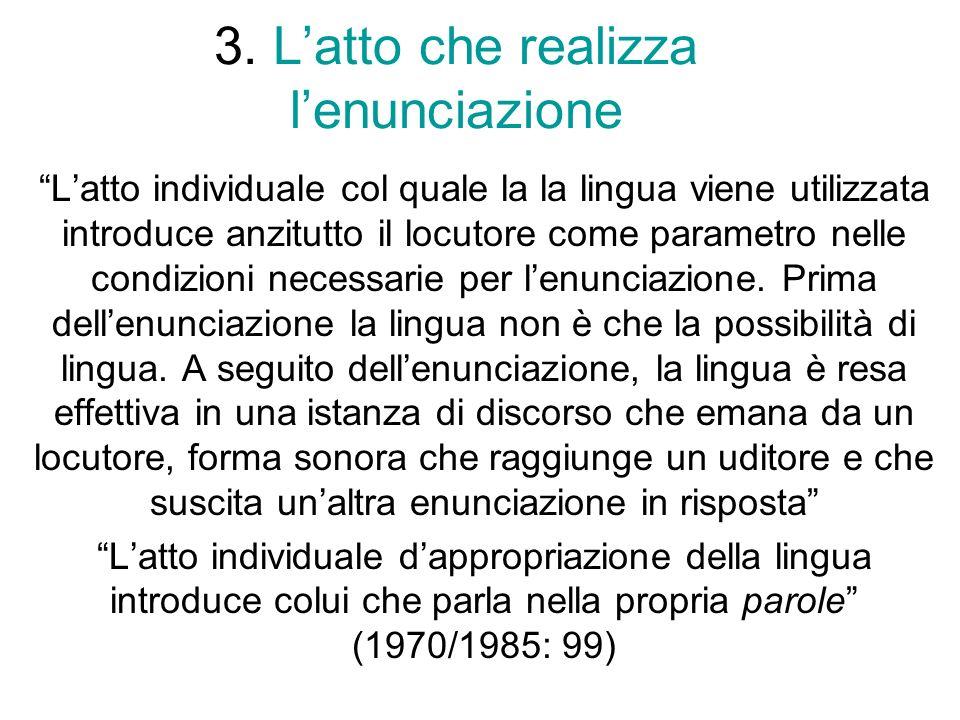 3. Latto che realizza lenunciazione Latto individuale col quale la la lingua viene utilizzata introduce anzitutto il locutore come parametro nelle con