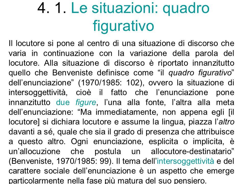 4. 1. Le situazioni: quadro figurativo Il locutore si pone al centro di una situazione di discorso che varia in continuazione con la variazione della
