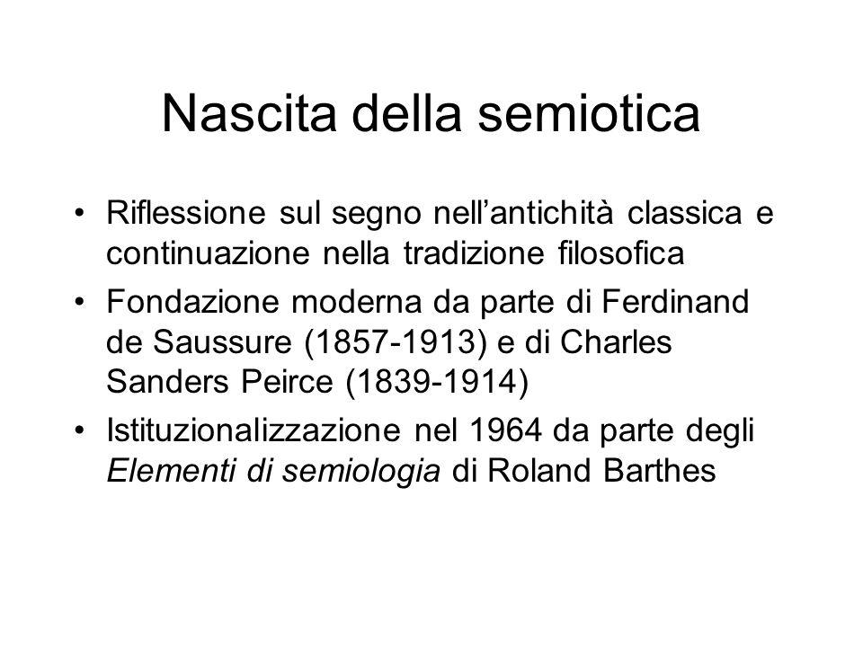 Nascita della semiotica Riflessione sul segno nellantichità classica e continuazione nella tradizione filosofica Fondazione moderna da parte di Ferdin