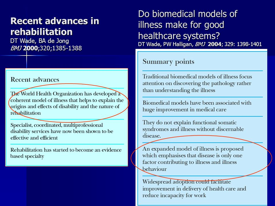 Do biomedical models of illness make for good healthcare systems? DT Wade, PW Halligan, BMJ 2004; 329: 1398-1401 Recent advances in rehabilitation DT