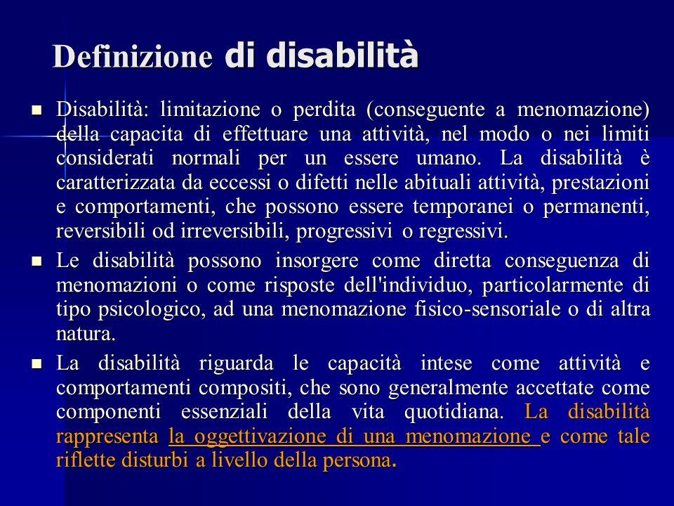 Definizione di disabilità Disabilità: limitazione o perdita (conseguente a menomazione) della capacita di effettuare una attività, nel modo o nei limiti considerati normali per un essere umano.